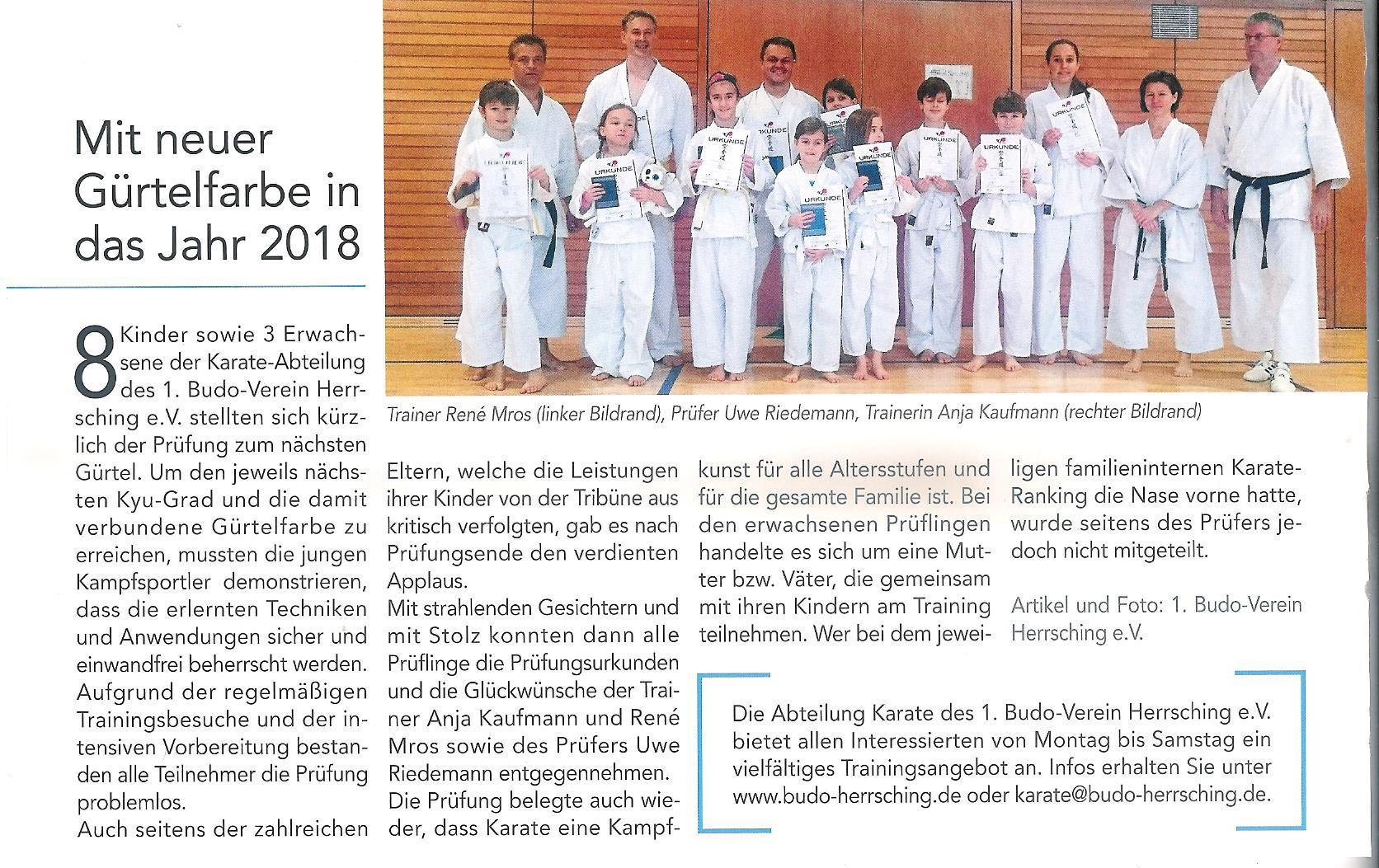 Mit neuer g rtelfarbe in das jahr 2018 budo herrsching for Spiegel juli 2018